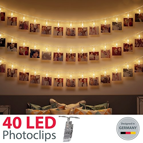 Clips porta foto luminose I filo luci LED a batteria I mollette con lucine decorative I 5 metri I...