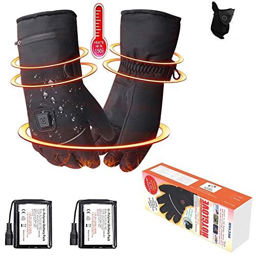 Decyam Guanti riscaldati elettrici Invernali con Batteria Ricaricabile agli ioni di Litio, Guanti...