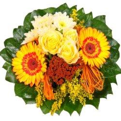 """floristikvergleich.de Dominik Blumen und Pflanzen, Blumenstrauß""""Sonnenschein"""" mit gelben Rosen"""