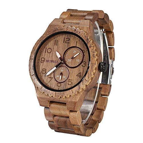 Bewell retro orologio da polso da uomo in legno naturale orologio analogico al quarzo con quadrante...