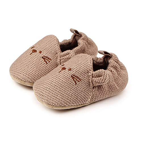 Ronshin Gifts - Scarpine da neonato con bocca elastica e suola morbida per bambini 0-1Y Topolino albicocca 11 cm