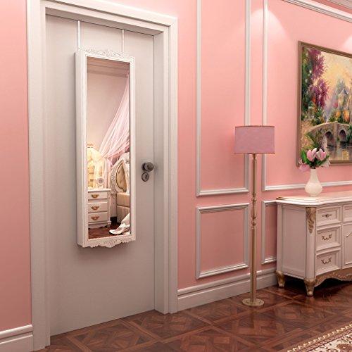 LANGRIA Hängend Schmuckschrank Spiegelschrank Türmontage/Wandmontage mit 2 Schubladen und 3 Höhenverstellbarkeit (36,7 x 9 x 121,5 cm, weiß) - 2