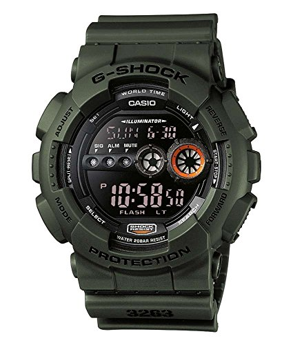 Casio G-Shock Digital Herrenarmbanduhr GD-100MS grün, 20 BAR