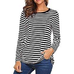Vectry Camiseta Larga Mujer Camiseta Rayas Negras Y Blancas Camiseta Mujer Manga Larga Camisetas Deporte Mujer Fitness Blusas De Rayas Camiseta Negro