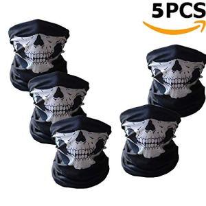 Ailiebhaus 5 Stücke Schädel Maske Skeleton Sturmmaske Schlauchtuch Halstuch mit Totenkopf- Skelettmasken für Motorrad Fahrrad Ski Paintball Gamer Karneval Kostüm Skull Maske 6