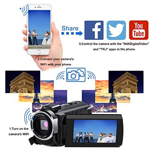 Caméscope 4K,FamBrow Caméra Vidéo WiFi 48MP IR Vision de Nuit 16 x Digital Zoom,Camescope Numerique 270 Degrés Rotatif Écran Tactile Camera ... 25