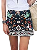 Simplee Apparel Women's A-line Embroidered High Waisted Bodycon Floral Short Mini Suede Skirt Black