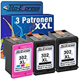 PlatinumSerie® Sparset 3 Patronen remanufactured für HP 302 XL Black & Color mit Füllstandsanzeige und 145% mehr Inhalt! Für Envy e-All-in-One 4520 4521 4522 4524 4525 4526 4527 4528