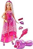 Barbie poupée Princesse Tresses Magiques aux longs cheveux, perles et accessoires inclus, jouet pour enfant, DKB62