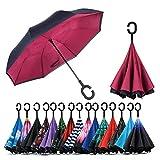 Jooayou Parapluie Inversé, Anti-UV Double Couche Coupe-Vent Parapluie, Mains Libres poignée en Forme C Parapluie (Wine Red)