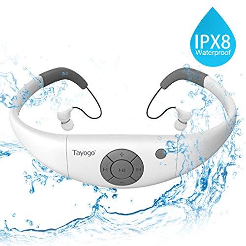 Tayogo Reproductor de MP3 Natación a Prueba de Agua con Auriculares 8GB IPX8 Hi-Fi bajo el Agua 3m Resistente al Calor 60 Correr Natación Senderismo Caminar SPA (Blanco)