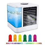 AimdonR Mini climatiseur mobile/Air Cooler/7 Visage de lumières/Rafraichisseur d'air/portable Air conditionné/Air Cool/8 heures d'autonomie/LED Display, blanc