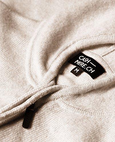 100% Kaschmir Damen Kapuzenpullover | Hoodie mit Reißverschluss (Beige / Washed Ecru, XL) - 4