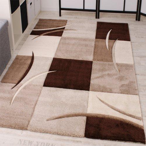 Paco Home Tappeto di Design Orlo Modello A Quadri nei Colori Marrone Beige Crema, Dimensione:200x290...