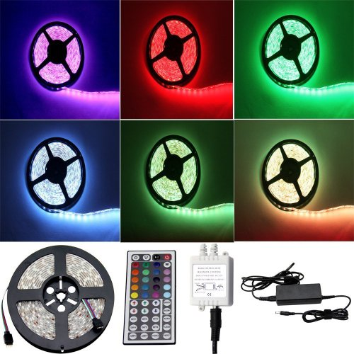 ALED LIGHT Striscia LED 5M RGB 150 LED 5050 SMD LED Strip Con DC 12V Alimentatore+ 44 Tasti...