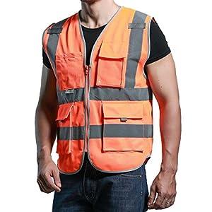 Panegy Multi bolsillos chaleco de alta visibilidad chaleco de seguridad cinta reflectante de gran visibilidad ropa con cremallera frontal, naranja