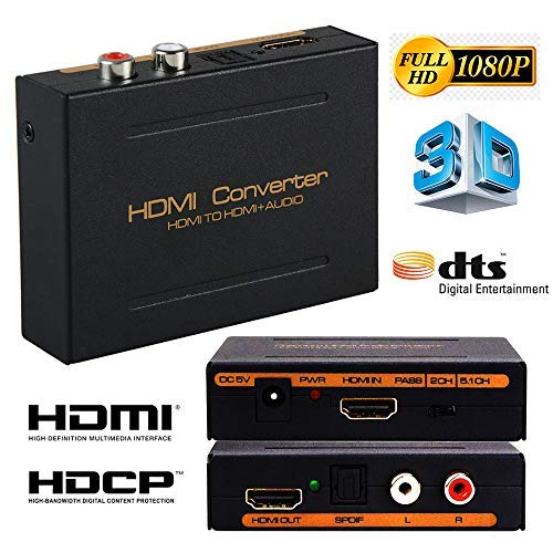 Microware HDMI Audio Extractor with 3.5mm Stereo Audio Output Support HD 1080P 3D, 5.1 CH Audio Extractor Converter Splitter With HDMI To HDMI and Optical TOSLINK SPDIF and L/R Audio
