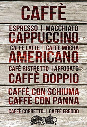 Targa in Metallo generica 20 x 30 cm Cafe Bar Lavagna caffè varietà Coffee Vintage Targa Bistro