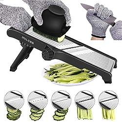 Mandoline Slicer,in acciaio inox Regolabile cucina julienne affettaverdure(Nero)