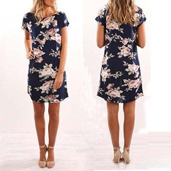DAYLIN-Fashion-Women-Summer-Sundress-O-Neck-Floral-Printed-Mini-Dress-Beach-Party-Dress