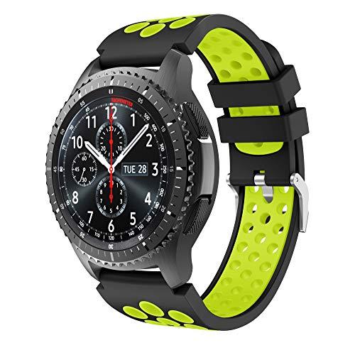Yayuu Gear S3 Frontier/Classic Watch Cinturino,Braccialetto di Ricambio in Silicone Sportivo Cinturino per Samsung Gear S3 Frontier/S3 Classic/Moto 360 2 nd Gen 46 mm Smart Watch (E, Nero-Verde)