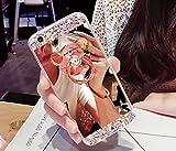 Custodia per Huawei P10,Specchio Custodia Cover per Huawei P10,Leeook Moda Lusso Brillante Diamante Bling Gomma Cellulare Protettiva Case in Oro Riflettente Ultra Sottile Flessibile Anti Graffio Trucco Mirror Back Cover Antiurto Morbida Silicone Tpu Bling Copertura Shell Skin Bumper Cover con Orso Anello Kickstand per Huawei P10 + 1 x Nero Stilo Orso,Oro