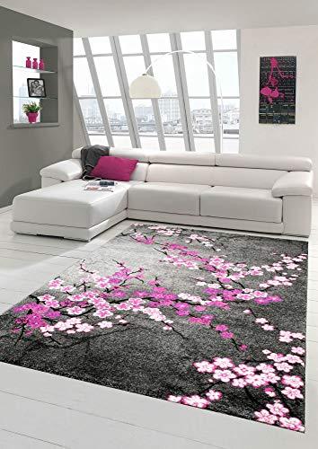 Traum Tappeto Designer Tappeto moderno tappeto del salotto motivo floreale Grigio Viola Rosa Bianco...