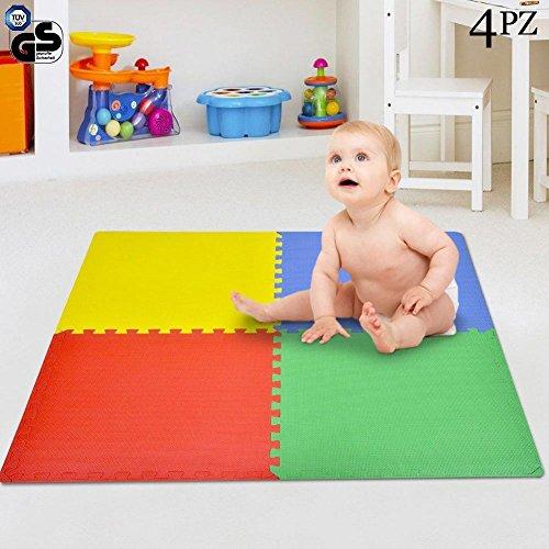 Bakaji Tappeto Puzzle 4 pezzi 60 x 60 cm Multicolore in morbida gomma EVA resistente, isolante,...