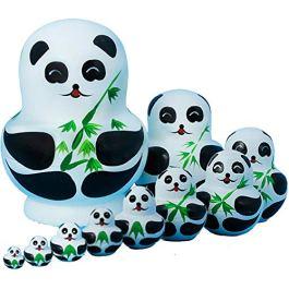 10 Pz/Set Bambole Matrioska, Set di giocattoli Matrioska in legno di faggio dipinto a mano russo, pe