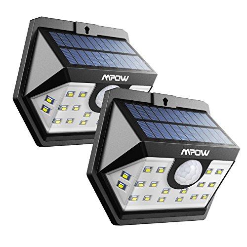 Mpow Solarleuchte mit Bewegungsmelder, Solarlampen für Außen 20 LED IP65 Solarlicht 120 ° Weitwinkel Solarlampe Solar Sicherheitswandleuchte Wasserdicht für Garten, Garage, Auffahrt, Pfad, Hof, Balkon