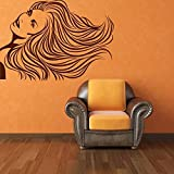 Happy Walls Beautiful Lady/Girl With Free Hair Style Abstract/Vector/Modern Art Wall Stickers/Decals (1007)