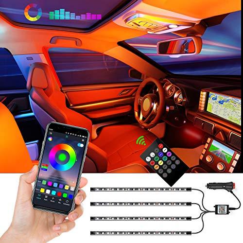 Strisce LED per auto, 4 pezzi a 72 LED, kit di illuminazione controllata da APP, strisce luminose multicolore a LED per auto con musica, festa al coperto con caricatore per auto