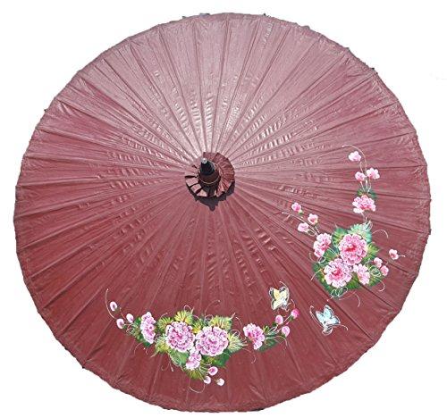 Sombrilla decoratif diseño pequeñas flores y mariposas diámetro 250cm 100% hecho a mano & Equitable, marrón