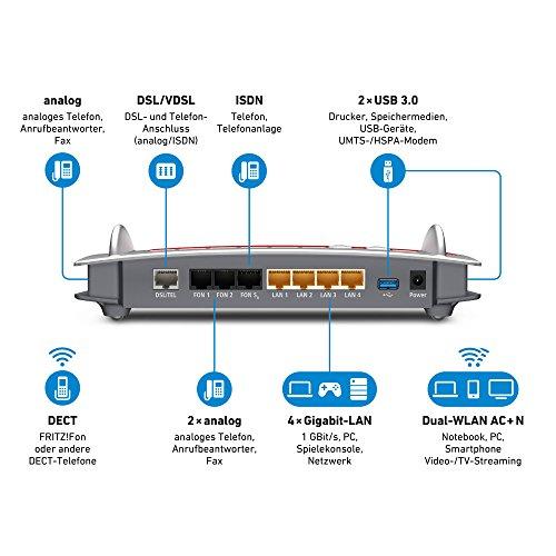 AVM FRITZ!Box 7490 WLAN AC + N Router (VDSL/ADSL, 1.300 Mbit/s (5 GHz), 450 Mbit/s (2,4 GHz), DECT-Basis, Media Server) geeignet für Deutschland