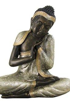 Figura de buda tailandés de resina en color plata y oro | 60 cm de alto | Portes gratis