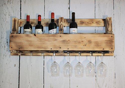 dekorie67vino scaffale vino bicchiere di vino portabicchieri bottiglia 90cm marrone in legno...