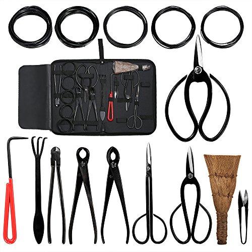 Audeuk - Juego de herramientas para bonsái, 10piezas, con tijeras, cizalla y cortadores de acero al carbono, alambre para plantas, caja de nailon