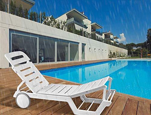 ITALICA Furniture 8103 Sunlounger Recliner (Matte Finish, White)
