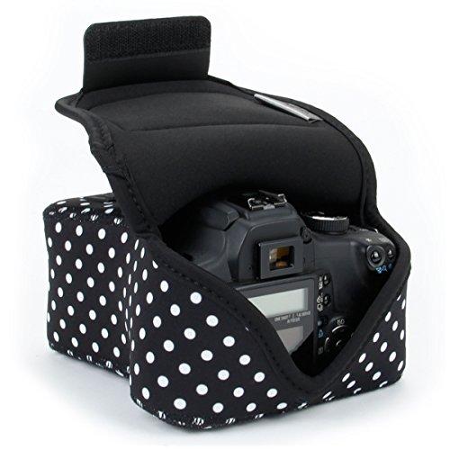 USA Gear - Custodia per fotocamera DSLR/SLR, a pois, con protezione in neoprene, passante per...