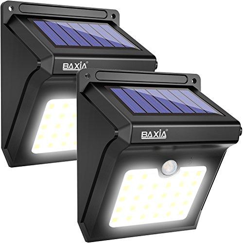 BAXiA Solarlampen für Außen, LED Solar Aussenleuchte mit Bewegungssensor, Superhelle Kabelloses...