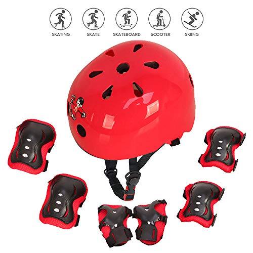 Protezione di Casco Bambini Set Casco Bici Protezioni Set per Bambini Regolabile Gomitiere Polso...