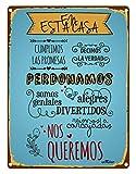 Enkolor/Chapas Decorativas Pared/Carteles Vintage/Decoración Rústica/Placa Retro para tu Hogar/Cuadros metálicos con Frases sobre Normas de la Casa/30X40cm.