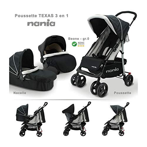 Passeggino combinato Nania 3 in 1 - seggiolino auto Gp 0+ Beone (0/13Kg) + Navicella con materasso