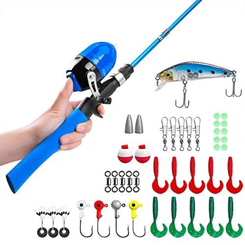 Canna da pesca per bambini, canne telescopiche per pesca e mulinelli con mulinello da pesca con spinello e corda con lenza (Blu-1,5 M)