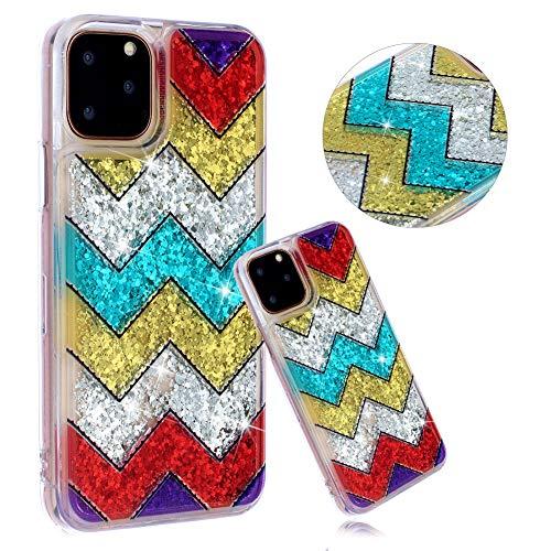 DasKAn Custodia in TPU Trasparente per sabbie Glitter per iPhone 11 PRO 5.8 Personaggio dei Cartoni Animati colorato in 3D Design Animale Bling Sparkle Cover Posteriore Antiurto, Onda Colorata