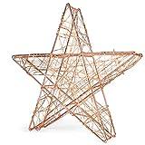 SnowEra Luz LED Decorativa de Metal en Forma de Estrella Color Plata - Adorno de Navidad con 140 microLED de Color Blanco Cálido - Estrella Luminosa