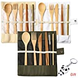 nuosen 3 Set Bamboo Cutlery, Bamboo Travel Utensils Reusable Cutlery Set Include Knife Fork Spoon Chopsticks and Straws