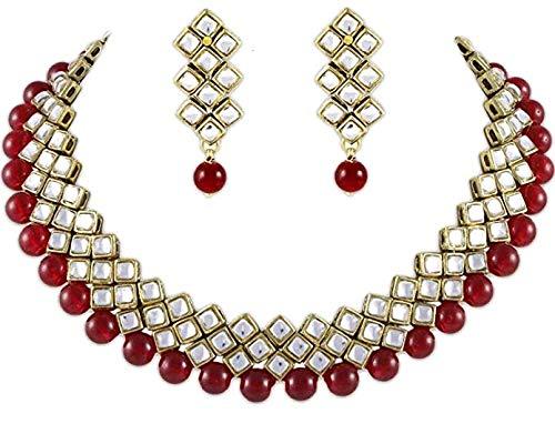 Karatcart Kundan And Red Beads Brass Choker Necklace & Earrings For Women