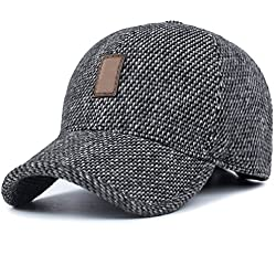 GADIEMENSS Mütze OhrenklappenBaseballmütze Kappe Manner Caps Grau Schwarz Baseball Caps Herren La Winter Cap 6-pannel Grau