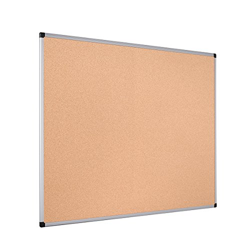 Bi-Office Pannello In Sughero Maya Con Cornice In Alluminio, Bachecha Per Avvisi In Sughero Elastico...